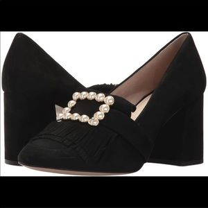 Louise et Cie Black Idali Loafer Pump Suede Pearl
